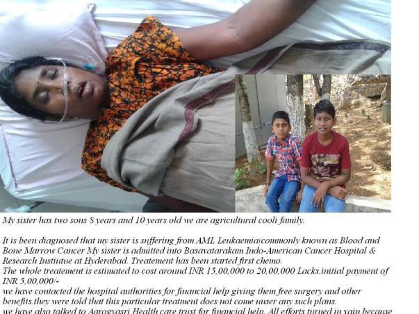 Help 32 year-old Nagamani get Bone marrow transplant to save her life