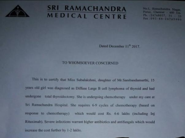 Help Fund Subalakshmi's Cancer Treatment