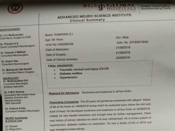 Support Ramanna who is diagnosed with traumatic cervical cord injury