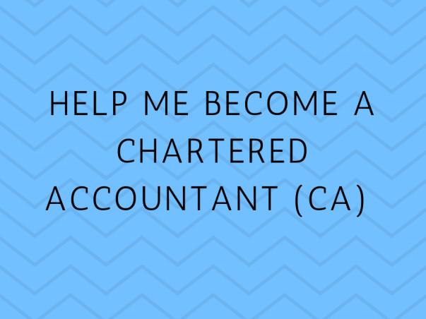 Help Me Become A Chartered Accountant (CA)
