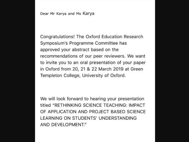 Help Luv Karya Present A Paper At Oxford University