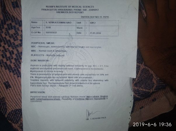 Help Venkateswararao Recover From Aplastic Anemia