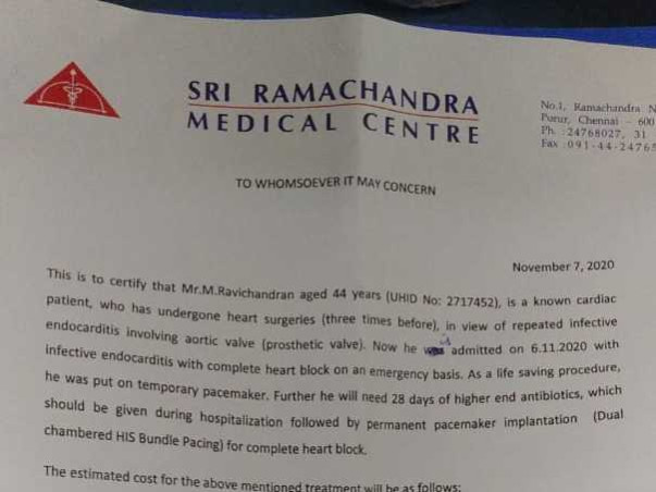 Support M Ravichandran Recover From Heart Surgery