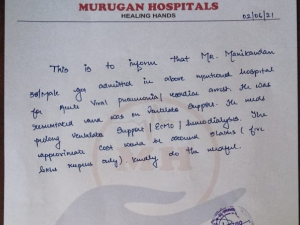 Help Manikandan's family who lost a life due to COVID Pneumonia