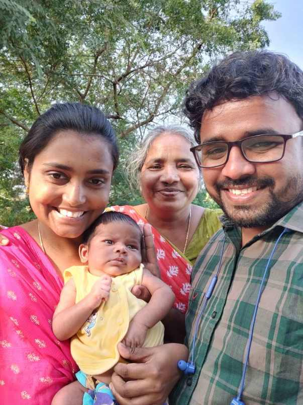 Jawahar with wife, baby and mother